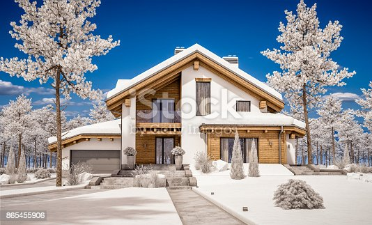 istock 3d rendering of modern cozy house in chalet style 865455906