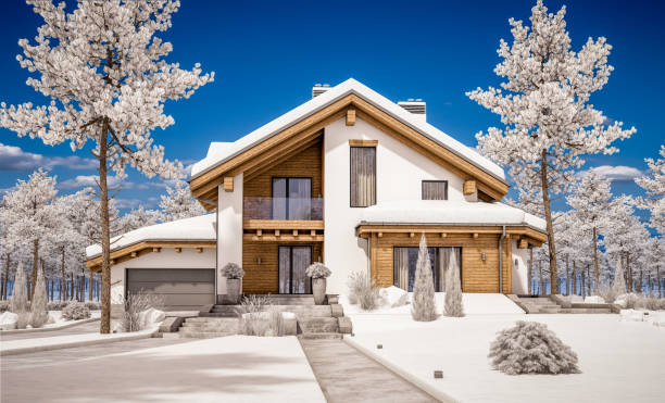 3d rendering of modern cozy house in chalet style 3d rendering of modern cozy house in chalet style with garage. Mountain ski resort with snow. Clear sunny winter day with cloudless sky. With many snow on the roof and lawn. chalet stock pictures, royalty-free photos & images
