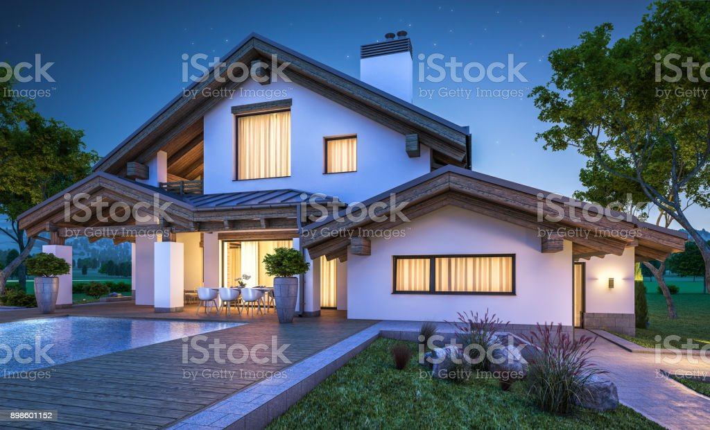 3d rendering of modern cozy house in chalet style 3d rendering of modern cozy house in chalet style with garage for sale or rent with many grass on lawn. Clear summer night with stars on the sky. Cozy warm light from window Architecture Stock Photo