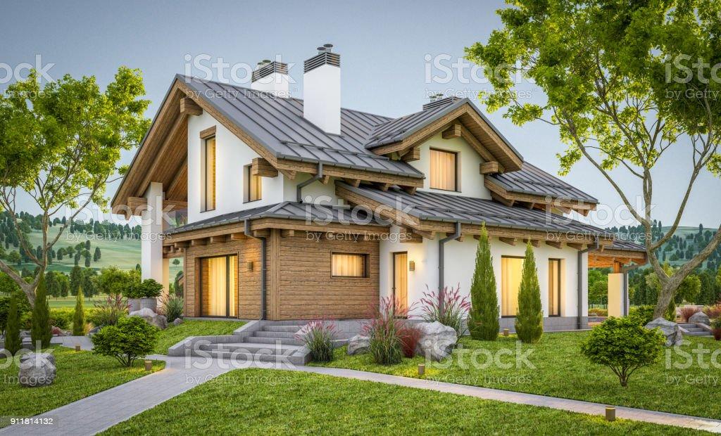 Render 3D de moderna acogedora casa estilo chalet foto de stock libre de derechos