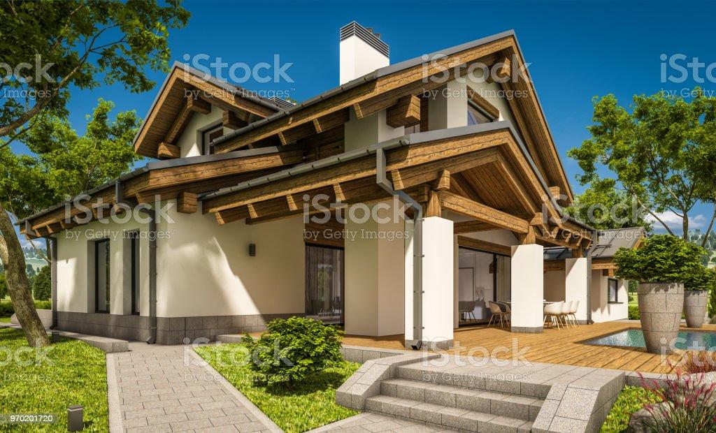 3drendering Des Modernen Gemütlichen Haus Im Chaletstil Stockfoto ...