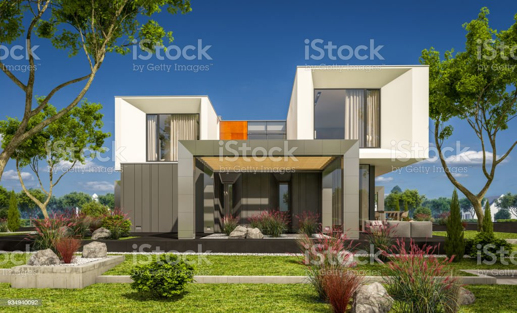 3d rendering of modern cozy house in the garden - Royalty-free Architecture Stock Photo