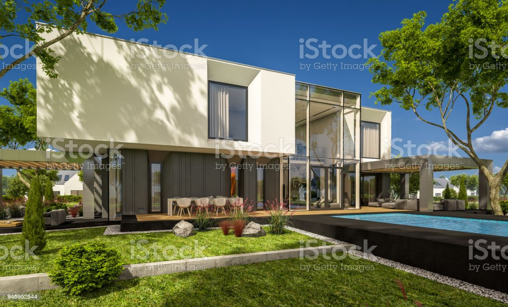 3d Rendering Of Modern Cozy House In The Garden Stock Photo - Download  Image Now