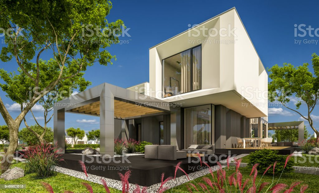 Drendering van modern gezellig huis in de tuin stockfoto en meer