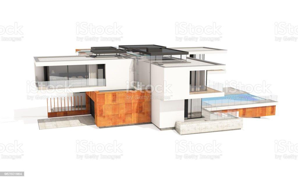renderização 3D da casa moderna e aconchegante isolada no branco. - Foto de stock de Arquitetura royalty-free
