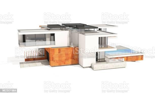 Foto de Renderização 3d Da Casa Moderna E Aconchegante Isolada No Branco e mais fotos de stock de Arquitetura