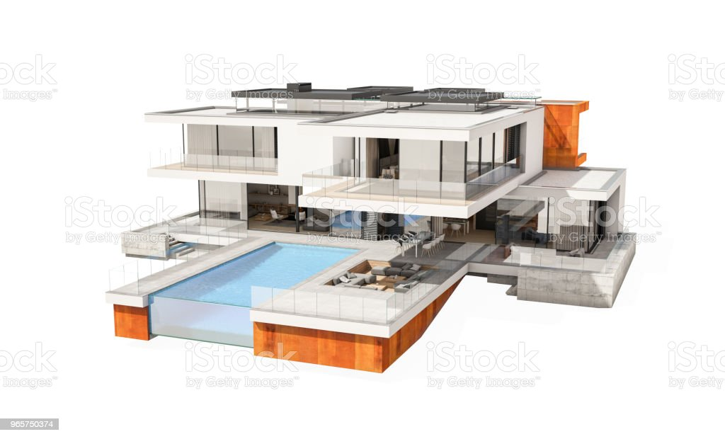 3d rendering of modern cozy house isolated on white. - Royalty-free Admirar a Vista Foto de stock