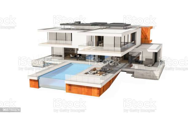 3d Rendering Of Modern Cozy House Isolated On White - Fotografias de stock e mais imagens de Admirar a Vista