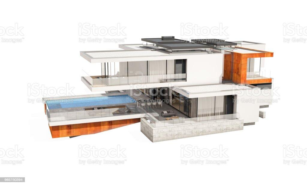 3D-rendering van moderne gezellige huis geïsoleerd op wit. - Royalty-free Architectuur Stockfoto