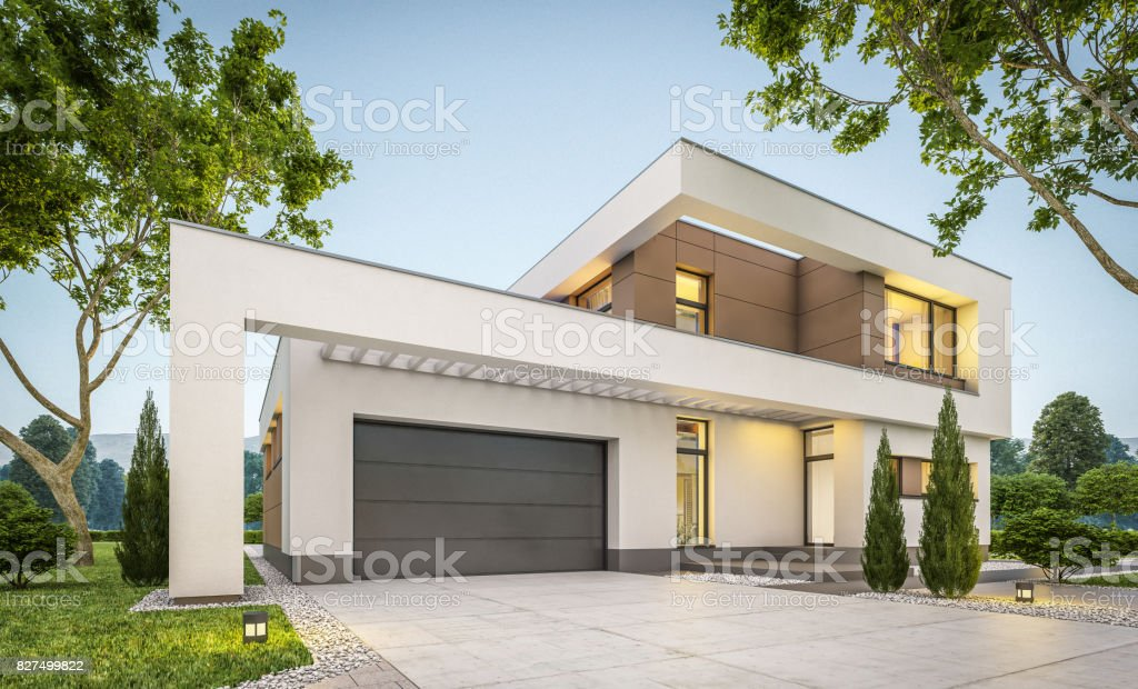 3d rendering of modern cozy house stock photo