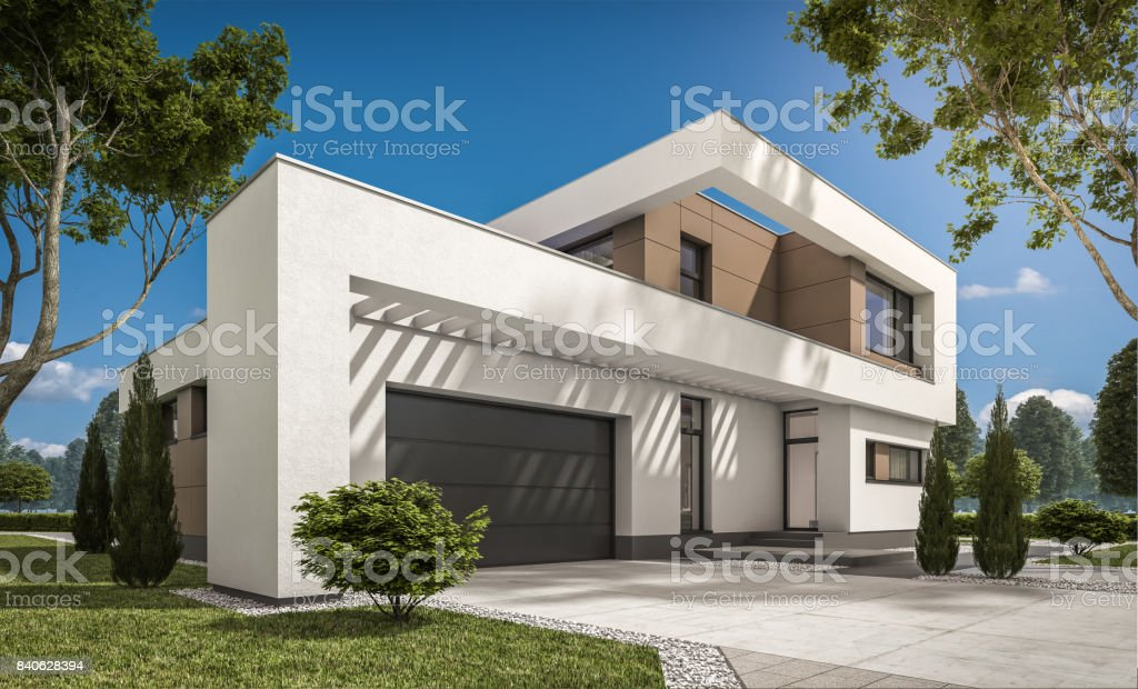 3d rendering of modern cozy house 3d rendering of modern cozy house with garage for sale or rent with large garden and lawn. Clear sunny summer day with cloudless sky. Architecture Stock Photo