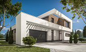 3d rendering of modern cozy house with garage for sale or rent with large garden and lawn. Clear sunny summer day with cloudless sky.