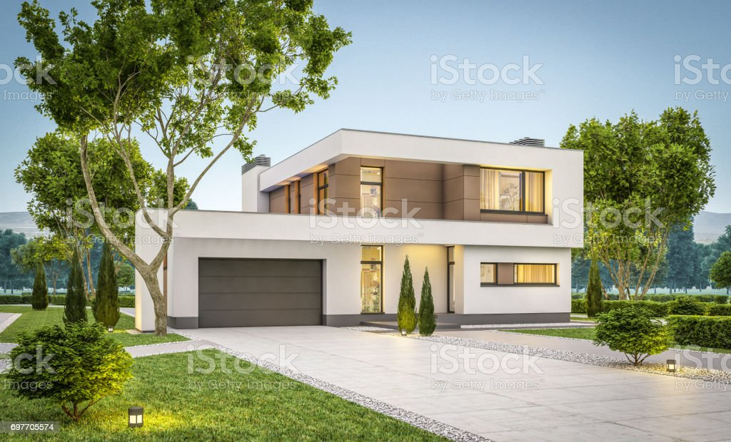 3d rendering of modern cozy house summer evening stock photo