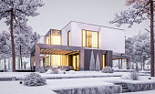 3d rendering of modern cozy house with garage and garden. Cool winter evening with cozy warm light from windows. For sale or rent with beautiful white spruce on background.