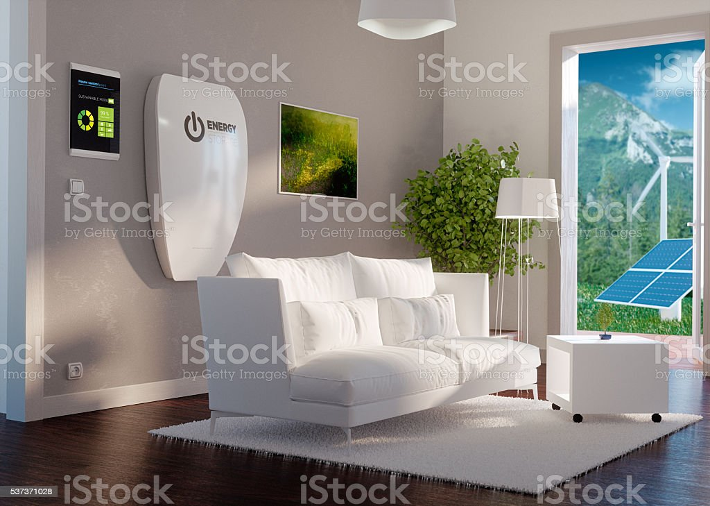3d rendering of modern house interior with independent energy st stock photo