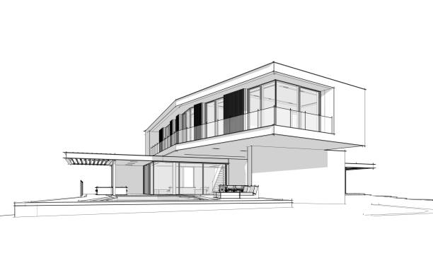 3d rendering of modern house on the hill with pool black line on white background