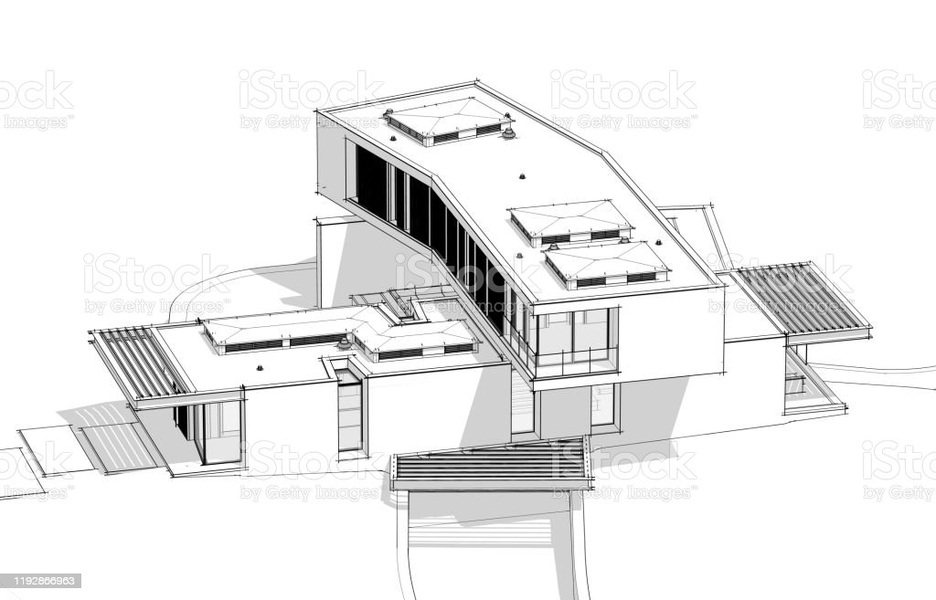 3d Rendering Of Modern House On The Hill With Pool Black Line On