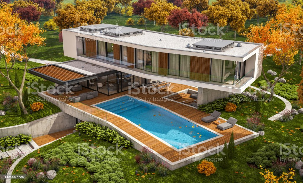 3d rendering of modern cozy house on the hill with garage and pool...