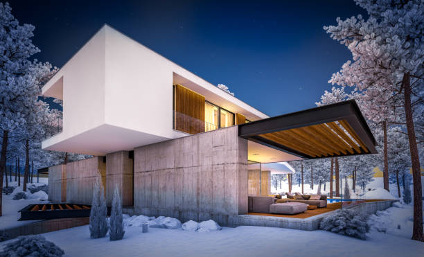 3d rendering of modern house on the hill with pool in winter night