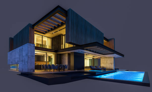 3d rendering of modern house with wood plank facade isolated on black