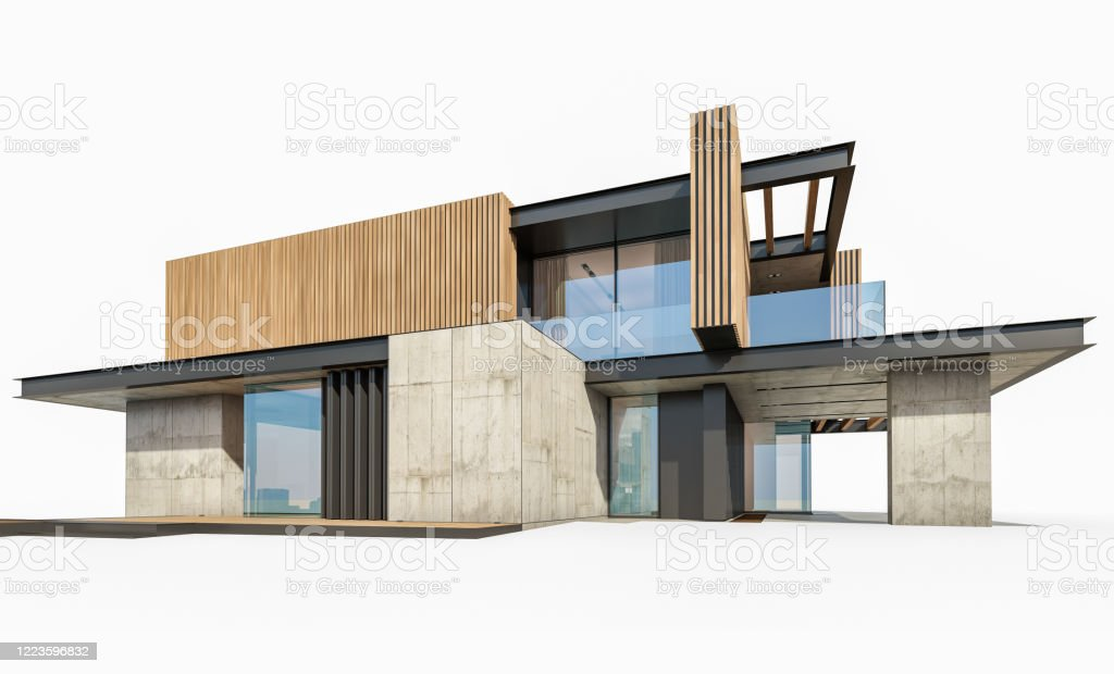 3d rendering of modern house with wood plank facade isolated on white 3d rendering of modern cozy house with parking and pool for sale or rent with wood plank facade. Isolated on white Architecture Stock Photo