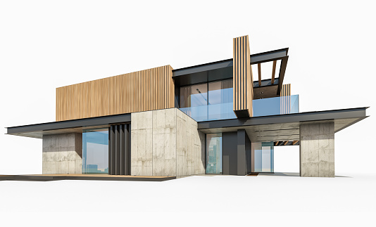 3d Rendering Of Modern House With Wood Plank Facade Isolated On White Stock Photo - Download Image Now