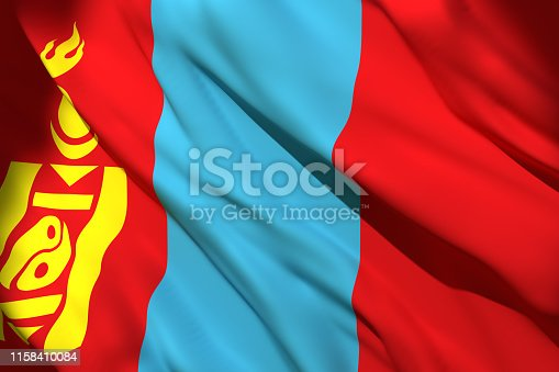 istock 3d rendering of Mongolia flag 1158410084