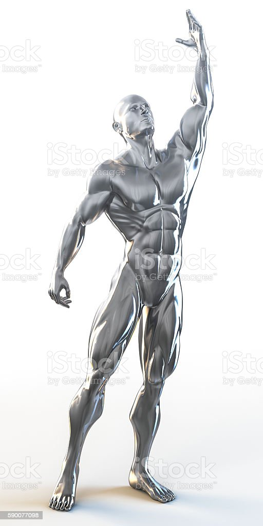 3d rendering of muscular man greeting to the sky stock photo