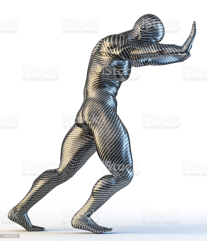 3d rendering of muscular man pushing stock photo