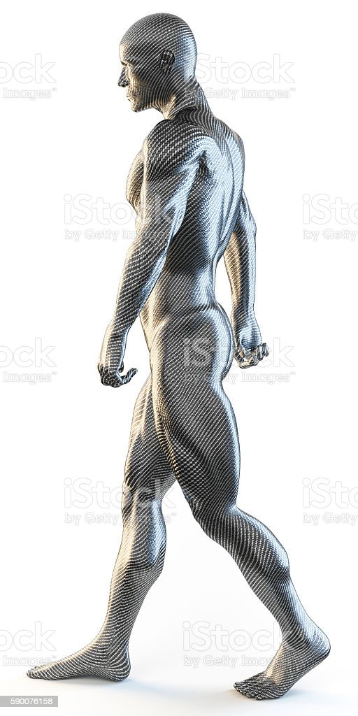 3d rendering of muscular man walking stock photo