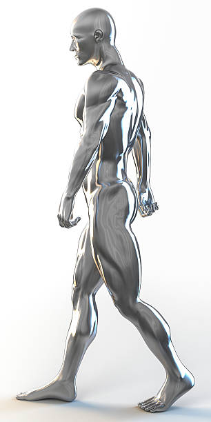 3d rendering of muscular man walking ストックフォト