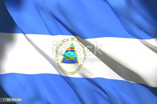 istock 3d rendering of Nicaragua flag 1158183260