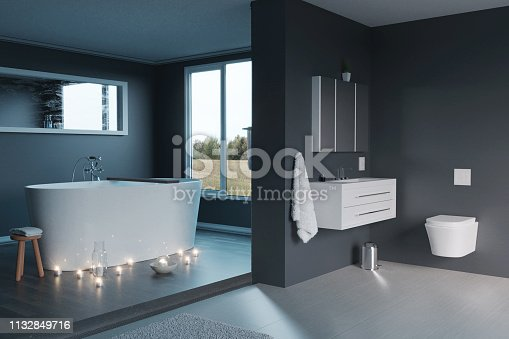 istock 3d rendering of of luxury grey bathroom with free standing bathtub and candle lights 1132849716