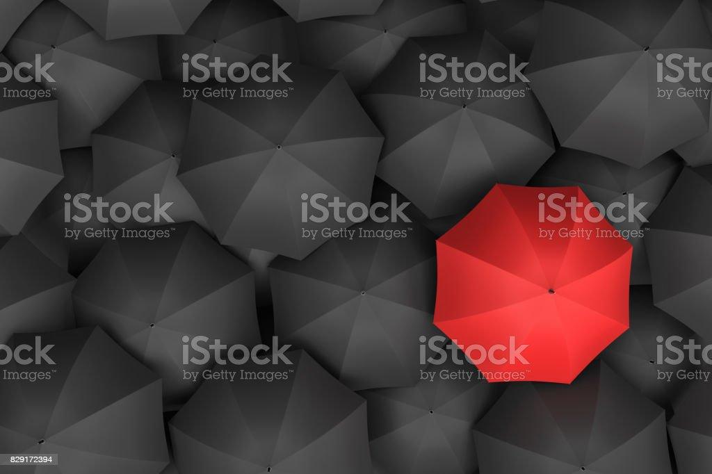 Render 3D de paraguas rojo brillante abierto por encima de un sinfín de paraguas negro similares foto de stock libre de derechos