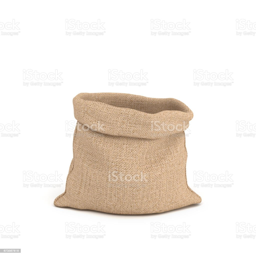 3d rendering of open canvas sacks in front view isolated on white background stock photo