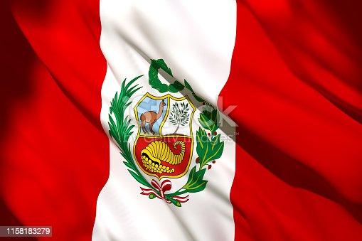 istock 3d rendering of Peru flag 1158183279
