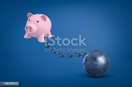 3d rendering of pink piggy bank chained to metal ball on blue background. Banking and finance. Money problems. Management and income.