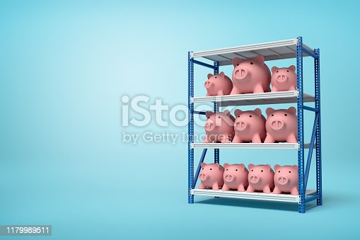 3d rendering of pink piggy banks on silver blue metal rack shelves on blue background. Industrial warehouses. Packaging and delivery. Banking and financial industry.