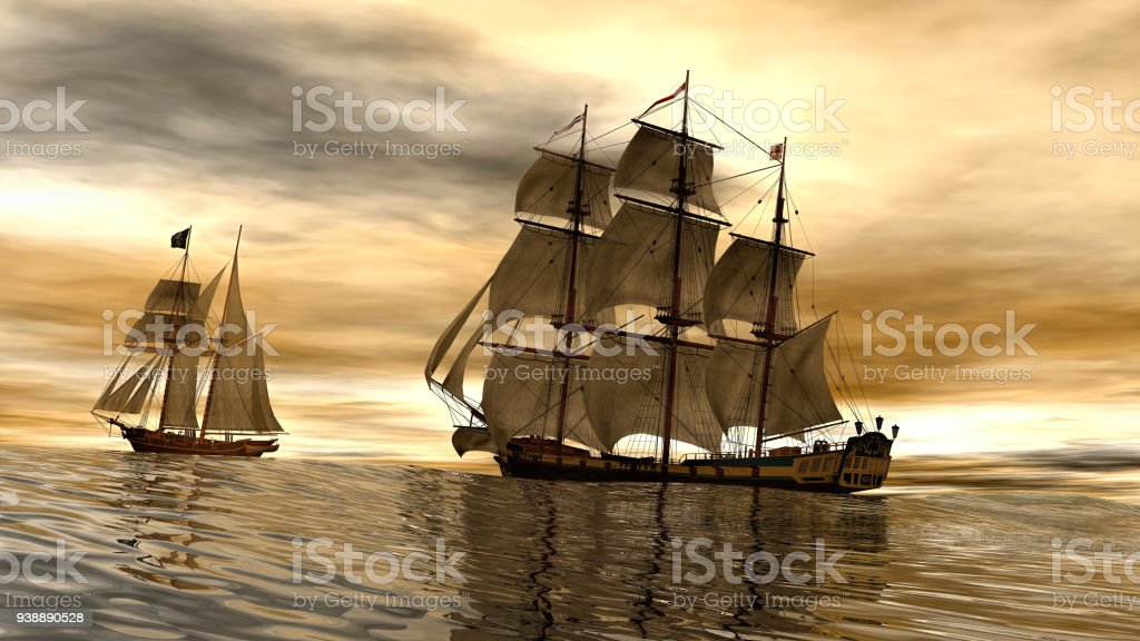 3d Rendering Of Pirates Ships Stock Photo - Download Image