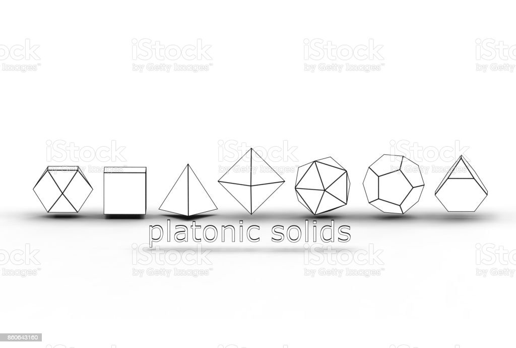 3d rendering of platonic solids stock photo