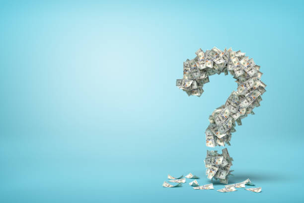 3d rendering of question mark made up of dollar banknotes on blue background.