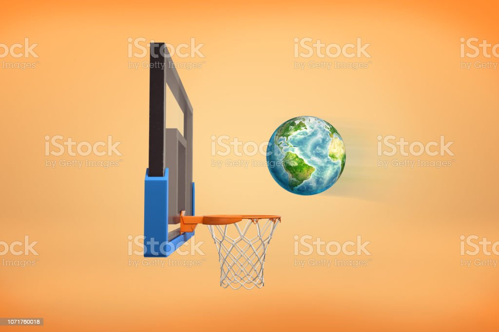3d rendering of realistic ball looking like an Earth globe flies ready to fall inside a basketball hoop. stock photo