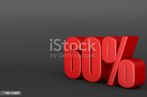 istock 3d rendering of red 60% sign on black background. 1186130667