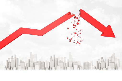istock 3d rendering of red broken financial diagram arrow on white city skyscrapers background 1179979986