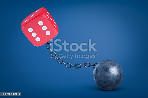 3d rendering of red dice chained to metal ball on blue background. Gambling and betting. Risk and reward. Bad habits.