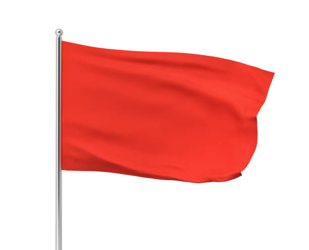 3d rendering of red flag hanging on post and wavering on a white background.