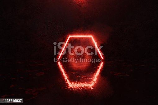 1039536404istockphoto 3d rendering of red lighten hexagon shape with smoke against grunge wall and glossy floor 1153715837