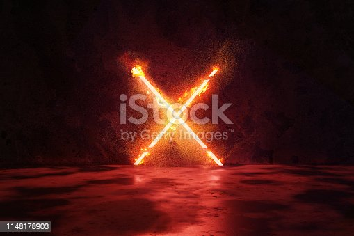 istock 3d rendering of red lighten X alphabet shape in fire against grunge wall background 1148178903