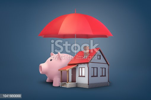 3d rendering of red open umbrella covers a large pink piggy bank and a small house on a blue background. Insurance policy. Home and savings insurance. Bank and mortgage.