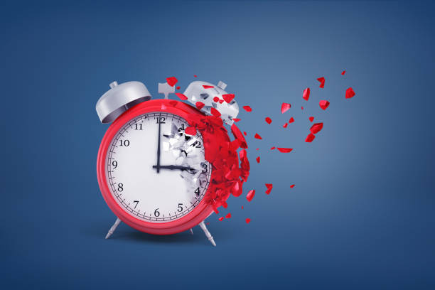 3d rendering of red retro alarm clock starts to destroy and dilapidate from one side with its small pieces flying away. 3d rendering of red retro alarm clock starts to destroy and dilapidate from one side with its small pieces flying away. Loss of time. Destroyed schedule. Precious minutes. dilapidate stock pictures, royalty-free photos & images